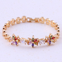 Rare Multicolor Created Multigem Yellow Gold Color Trendy Charm Bracelets For Women Bridal Wedding Fashion Jewelry F0004