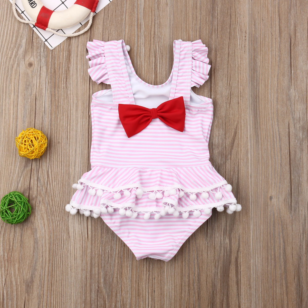 Summer Ruffles Sleeve Toddler Kids Baby Girls Striped Bikini Bowknot Swimwear Swimsuit Bathing Suit Beach Clothes Bodysuits