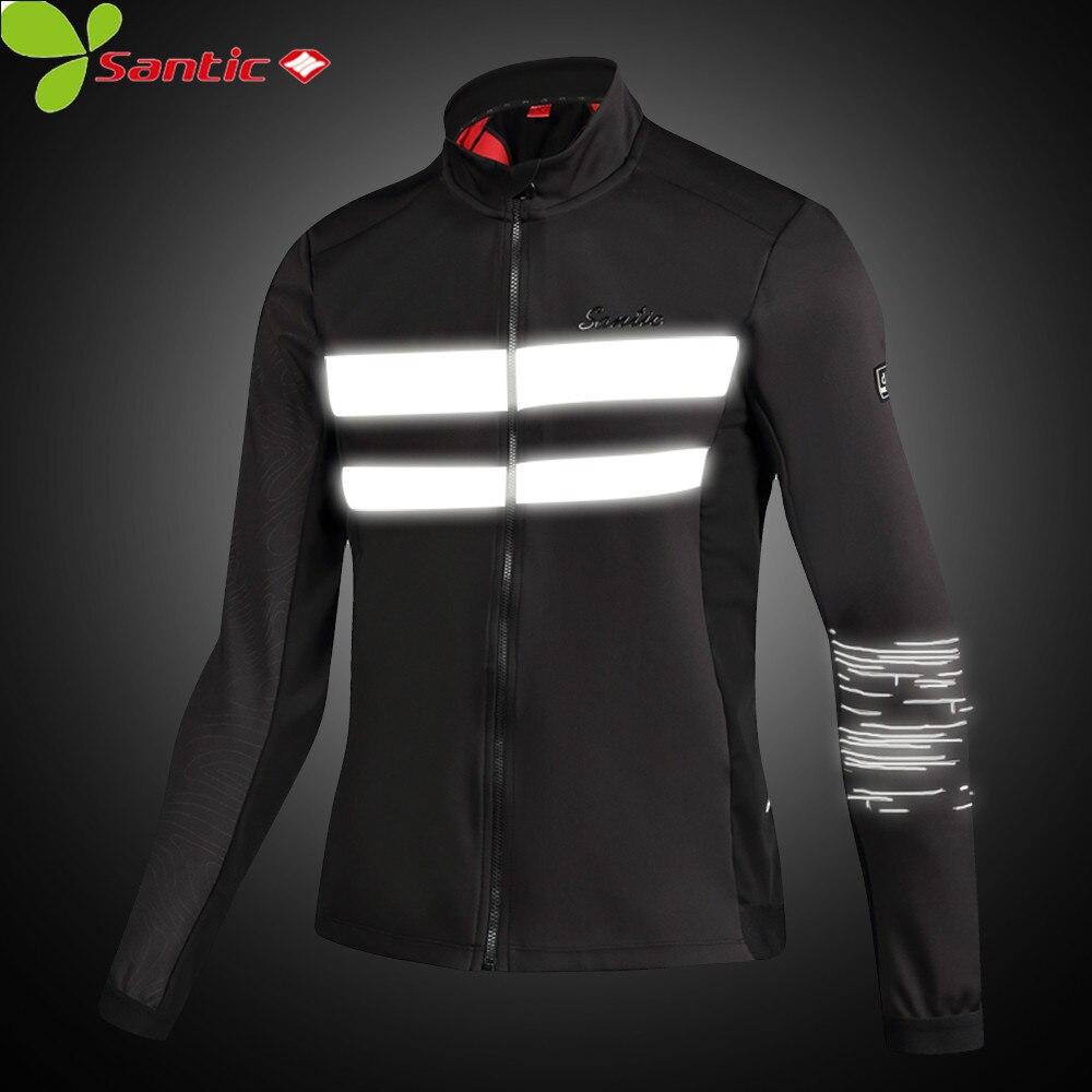 Santic Cycling Men's Windbreaker Windproof Thermal Fleece Reflective Coat Breathable Sportswear MTB Bike Jacket Clothing Man цена