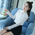 Korean Black White Lace Blouse Women 2017 Spring Sexy See Through Ladies Tops Slim Long Sleeve Shirt Female Blusas Mujer