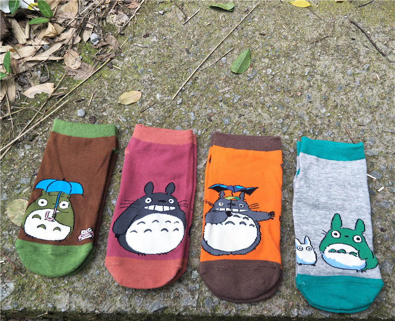 4 Styles  My Neighbor Totoro Cosplay Socks Woman Cartoon Pattern Casual Ankle Socks Summer Cotton Personality Socks
