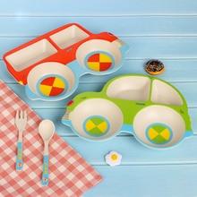 3pc/set Dinnerware Portable Plastic Kids Plate Fork  Set  Cutlery Kids Children Tableware Bamboo Fiber Child Food Tray set