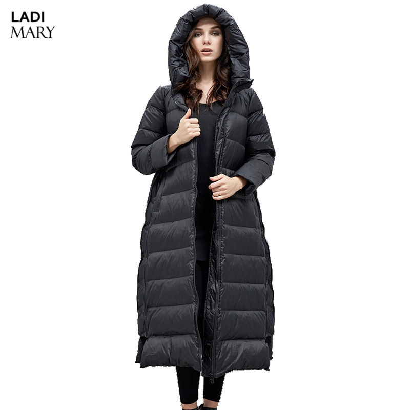 LADIMARY New Autumn Winter Women Down Jackets Elegant Slim 90% White Duck Down Jackets Hooded Warm Winter Coat Outwear Y16037