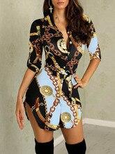 La MaxPa Dress Women 2019 Autumn Fashion Sexy Gold Chain Print Elegant Robe Femme Streetwear Dresses Asymmetrical