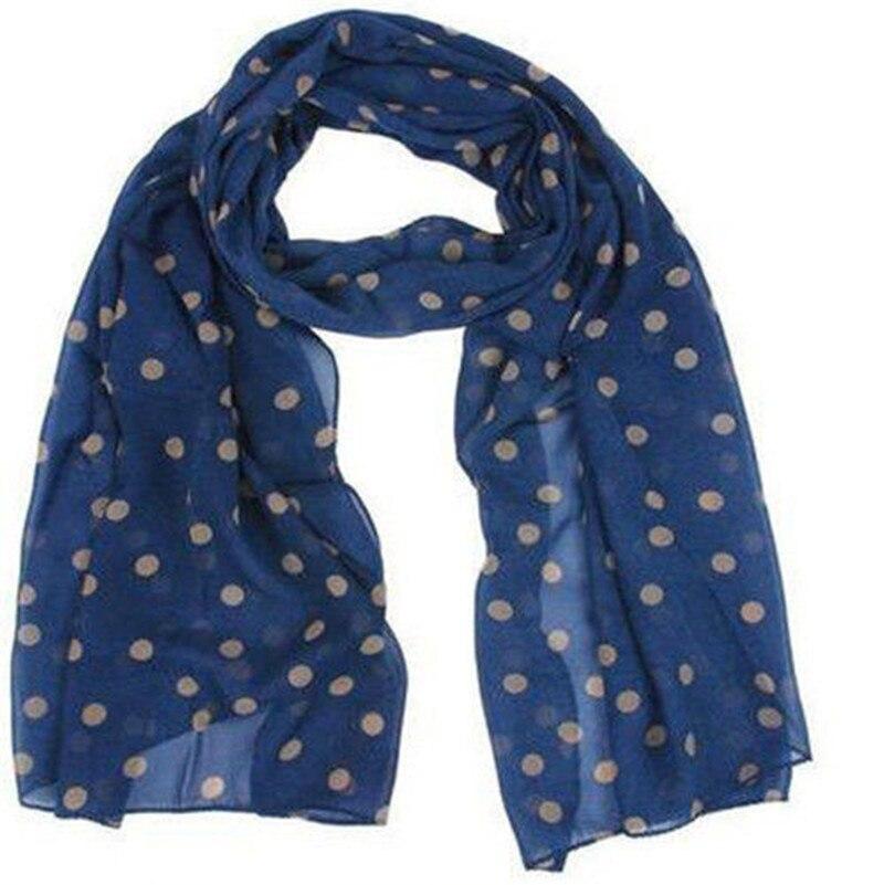 100% Brand New and High quality Women Polka Dot Floral Chiffon Soft Shawl   Scarf     Wraps   Stole Headscarf Navy Green High Quality