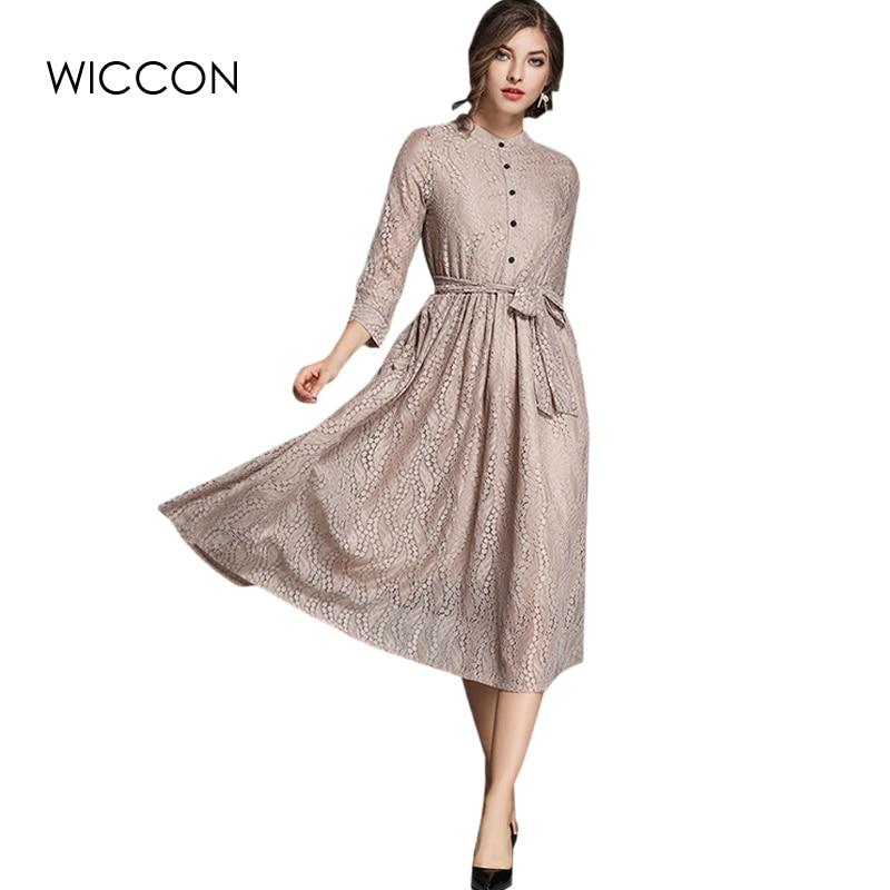 European Lace Shirt Dress Women New Autumn Dress with Belt Full Sleeve O Neck Khaki Dress High Waist Vintage Dress WICCON