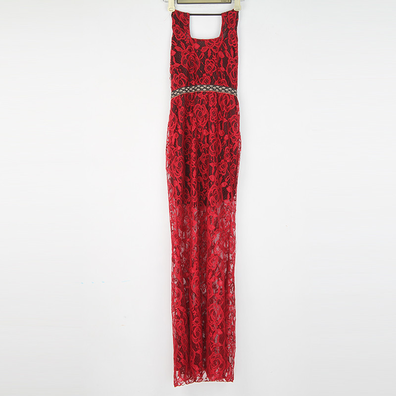 efefef571490c US $25.47 |Gamiss Summer Women Elegant Backless Long Maxi Dress Casual Sexy  Sleeveless Lace Evening Party Dress Female Red party dress-in Dresses from  ...