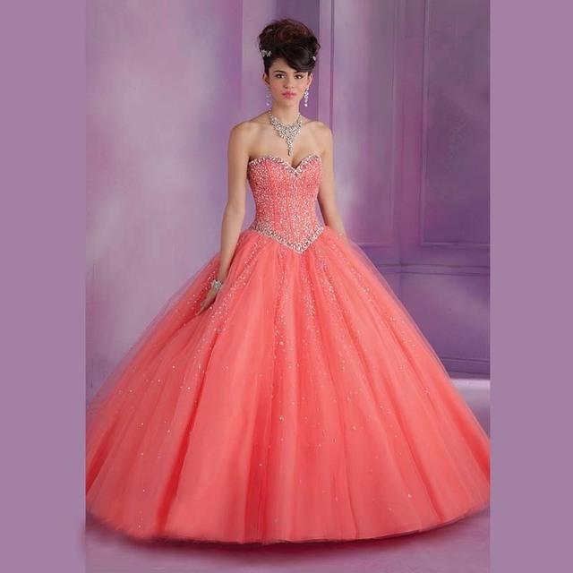 Vestidos de quinceañera Largo Elegante de Tulle de Bola Del Amor Por Encargo De Chicas Año Dulce 15 Vestidos de Fiesta Vestido de La Vendimia 2017 Vestido