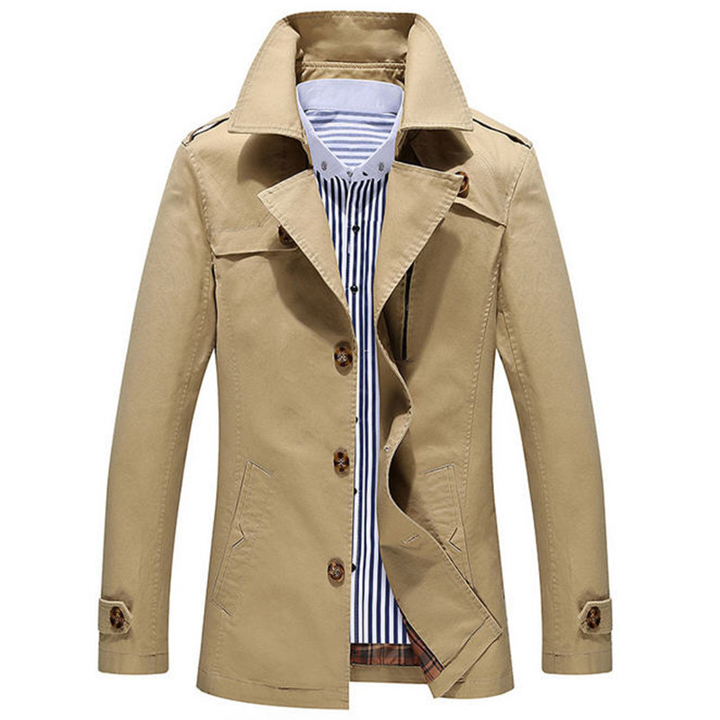 Men's Trench Coat Plus Size New Arrival 2017 Fashion Trench Men High Quality Turn-Down Collar Jacket Men Outerwear M-5XL A893