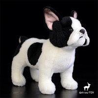 Plush Toy Simulation French Bulldog Black With White Childrens Toys 14cm