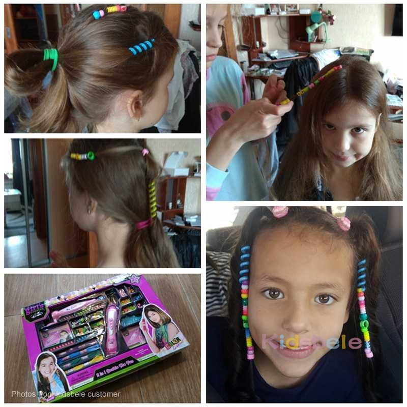 Kız oyuncak moda Braider saç aksesuarları renkli elbise çocuk oyuncak çocuklar için DIY oyuncak kız hediye eğitici güzellik oyuncaklar