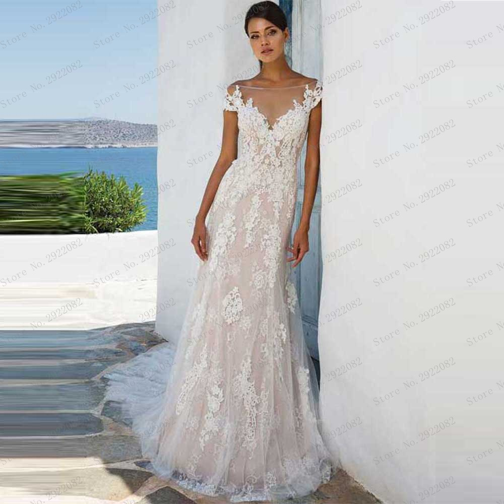 Off The Shoulder Sheer Boat Neck A Line Wedding Dress Illusion Back Court Train Bridal Gowns Lace Appliques in Wedding Dresses from Weddings Events