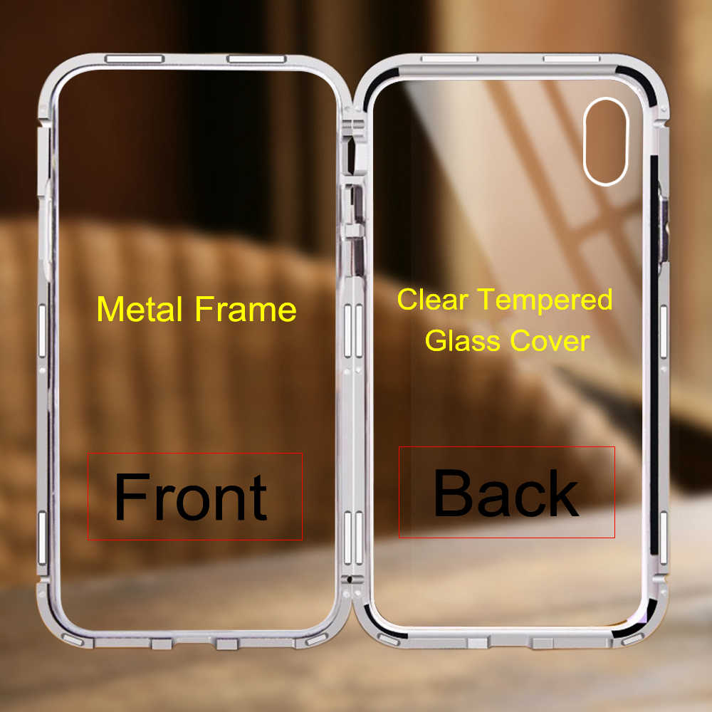 Magnetic Adsorption Case For Samsung galaxy Note 9 8 S8 S9 Plus Magnet  Metal Bumper Glass Back Cover For Samsung S9 Case Shock