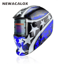 NEWACALOX Blue Star Solar Auto Darkening MIG MMA Welding Mask Welding Helmet Weld/Grind /UV/IR Preservation for Welding Machine(China)