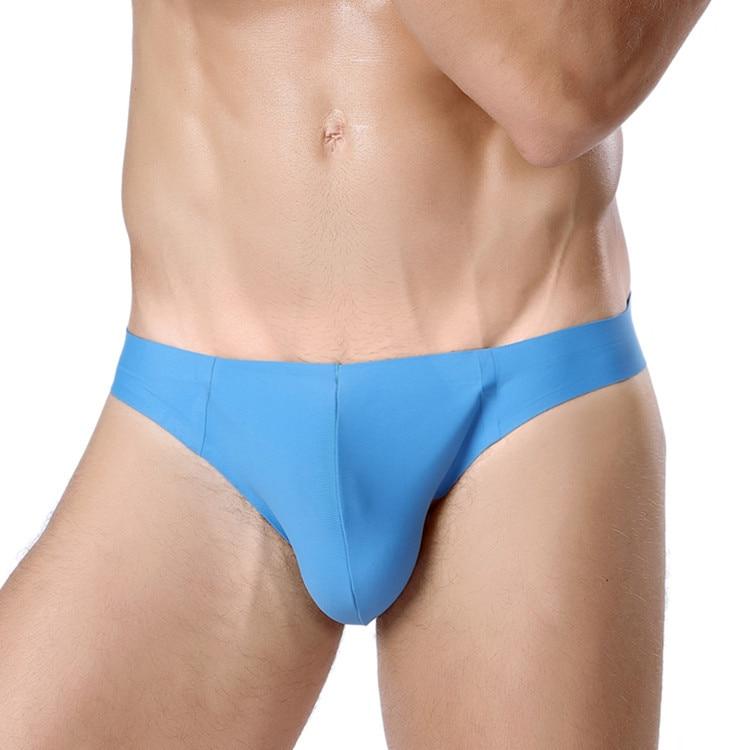 Mens Basic Bikini Briefs Ice Silk Panties Seamless Knickers Breathable Hipster Underwear