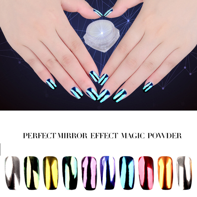 2017 new nail color plating mirror powder 10 aurora mirror powder ...