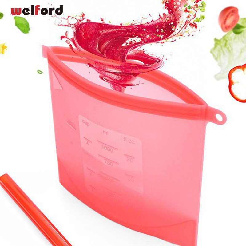 Food-grade silicone vacuum Storage bags sealed bags, frozen soup fruit vegetables thickened heating food pouch