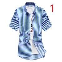 Мужская полосатая рубашка с коротким рукавом летняя Корейская Тонкая Повседневная клетчатая рубашка Подростковая белая мужская дюймовая