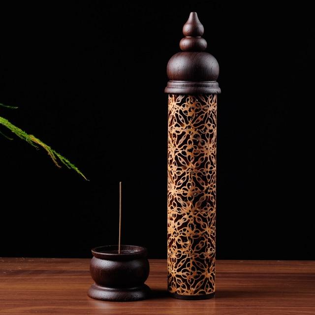 Quemador de incienso de nogal hueco creativo hecho a mano, calentadores de madera incienso, caja de gran oferta