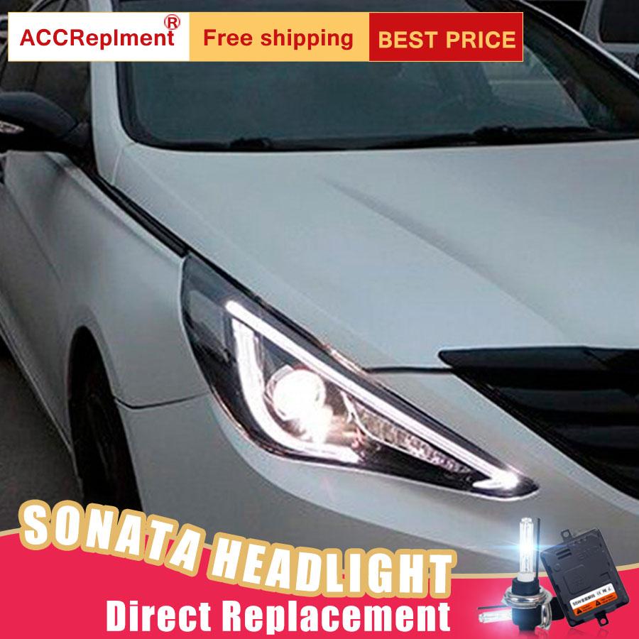 2Pcs LED Headlights For Hyundai sonata 2011-2014 led car lights Angel eyes xenon HID KIT Fog lights LED Daytime Running Lights все цены