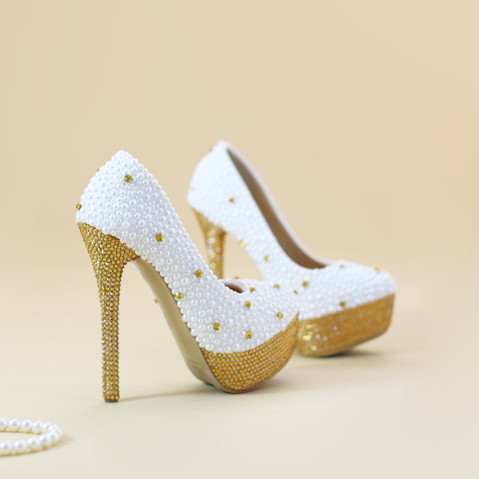ФОТО High - heeled waterproof gold wedding shoes Crystal pearl shoes  Evening dress bridal shoes
