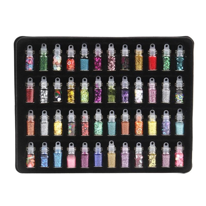 48 Bottles/Set UV Gel Colorful Sequins Set Giltter Sequins Powder Set Beads For Acrylic Nail Art Decoration Wholesale маска для лица skinlite skinlite sk009lwboaz8