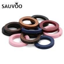 SAUVOO – perles rondes en bois naturel, 30mm de diamètre, 2mm de diamètre, pour bricolage, fabrication de bijoux pour enfants, 30 pièces