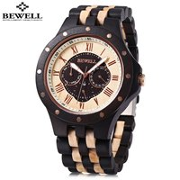 BEWELL ZS W116C Male Wooden Quartz Watch Date Day Display Roman Numerals Scale Wristwatch