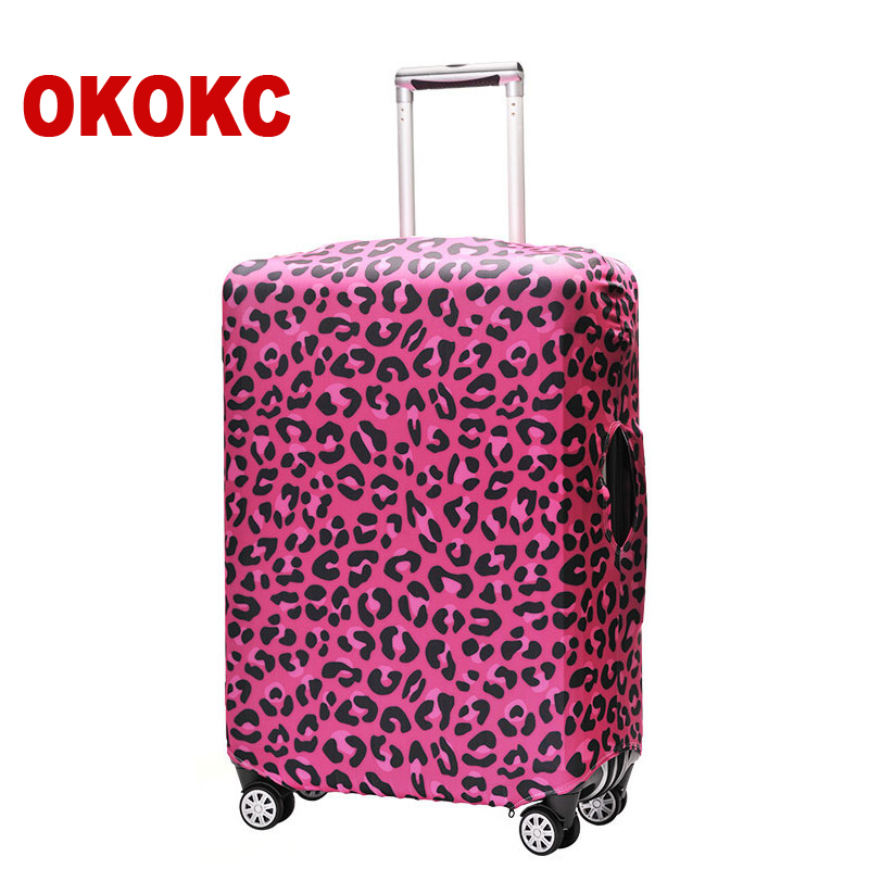 OKOKC Leopard Elastic Luggage Protective Cover Travel Tolley Suitcase Dust Cover Bags Case Travel Accessories For 18-32'' Case