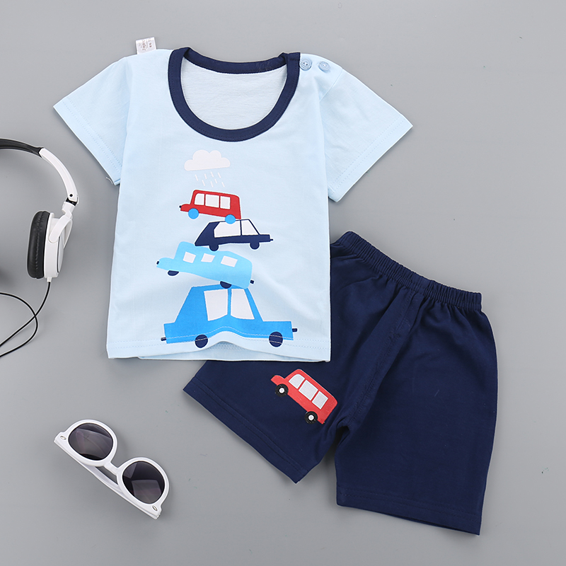 2PCS New T-shirt + shorts costome Summer Baby boy girls clothes Short Sleeved Baby Boys sprot suits infant newborn kids outfit 2pcs children outfit clothes kids baby girl off shoulder cotton ruffled sleeve tops striped t shirt blue denim jeans sunsuit set