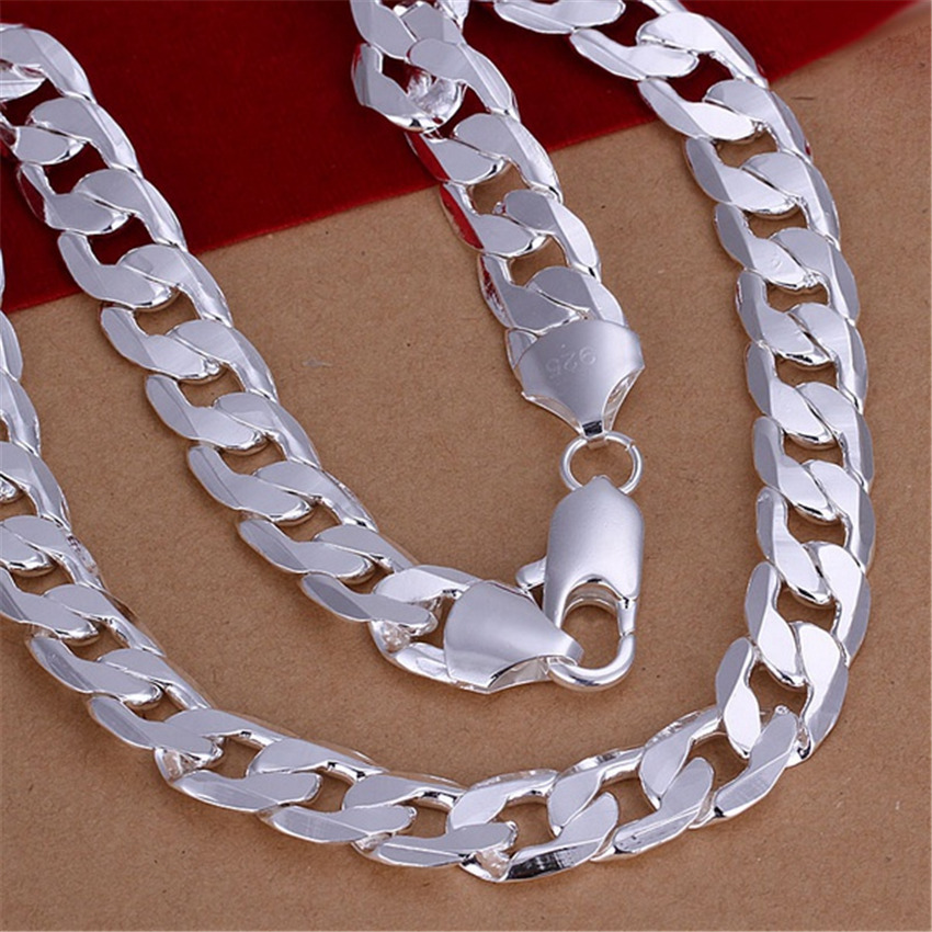 New Listing Hot selling silver Plated Mens 12MM flat sideways solid chain noble men Necklace Fashion trends Jewelry Gifts