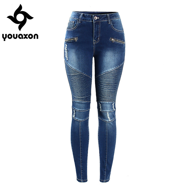 2077 Youaxon Women s Motorcycle Biker Zip Mid High Waist Stretch Denim Skinny Pants Motor Jeans