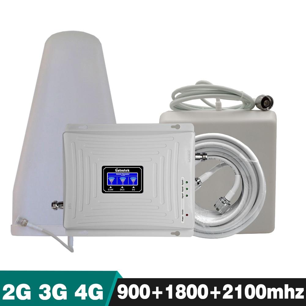 Усиления 65dB трехдиапазонный ретранслятора GSM 900 + DCS/LTE 1800 + WCDMA UMTS 2100 мГц 2 г 3g 4G мобильный Сотовая связь усилитель сигнала полный набор