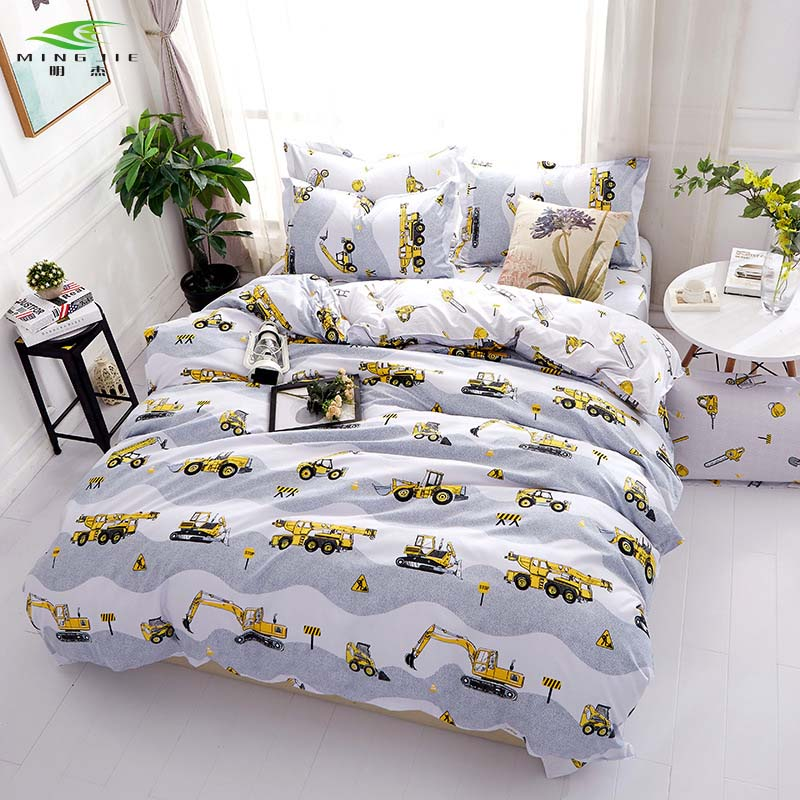 Road Excavator Bedding Set Tools Print Duvet Cover and Pillowcases Bedsheet Twin Full Queen King Size Bed Linen 3pcs Bedclothes