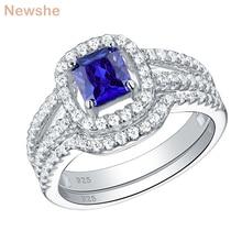 Newshe Blue Princess Cut Zircons 2Pcs 925 Sterling Silver Wedding Rings For Women Engagement Ring Set