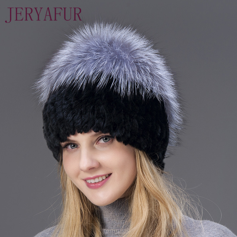 Winter Outdoor Warm Hat For Women Real Rabbit And Fox Fur Vertical Weaving Hats Fox Fur On The Top And Rabbit Fur The Following rabbit hair lady autumn winter new weaving small pineapple fur hat in winter to keep warm very nice and warm comfortable
