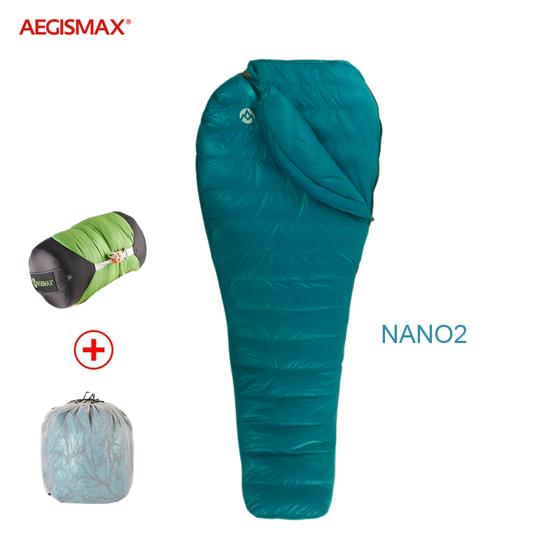 Aegismax  Nano 2 New Mini Upgrade Sleeping Bag 95% White Goose Down Mummy Ultralight Splicing Hiking Camping 800FP Fully Lining