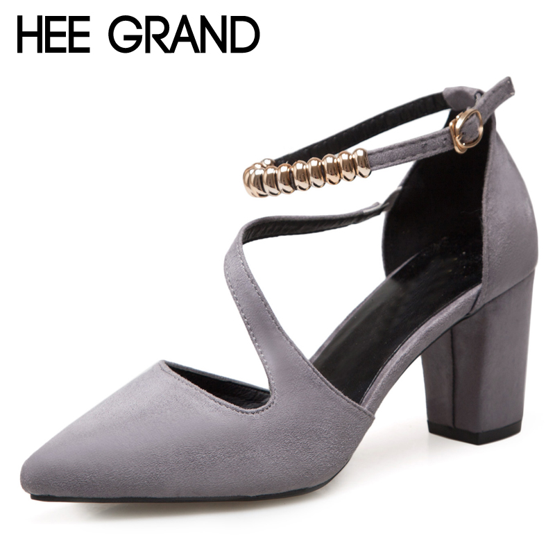 HEE GRAND String Bead Flock Sandals Summer Sexy High Heels Faux Suede Wedding Shoes Woman Elegant Pumps Ladies XWD6403 bigtree summer fashion women high heels sandals suede shallow mouth pointed pearl ladies sandals sexy wedding red woman shoes