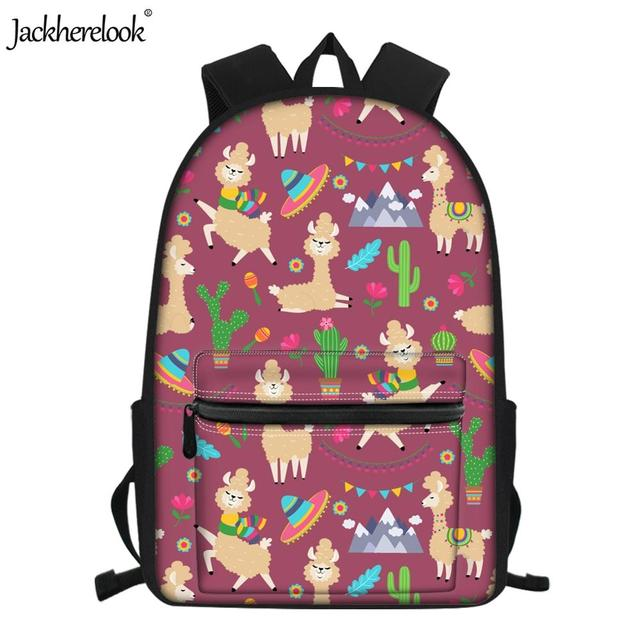 Jackherelook Back to School Middle School Students Schoolbags Funny Llama/Alpaca Cactus Print Backpacks Laptop Bookbags Teenager – HMF832Z58