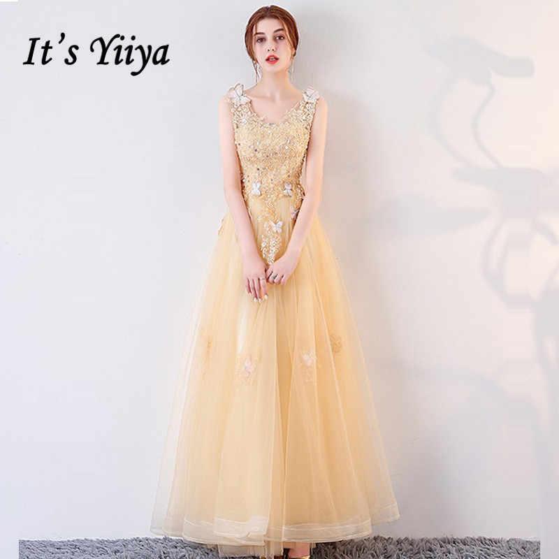 f6913c5f2a4 Это YiiYa вечернее платье 2018 v-образным вырезом без рукавов Бисер Бабочка  Золотой трапециевидной формы