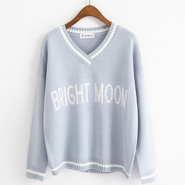 fall 2019 fashion harajuku pink sweaters women korean autumn winter clothes women  letters stripes stitch knitted sweater women 51a518a05