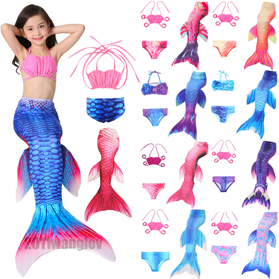 3PCS Kids For Girls Fin Mermaid Tail Biniki Set Monofin Swimmable Swimming Cosplay Costume