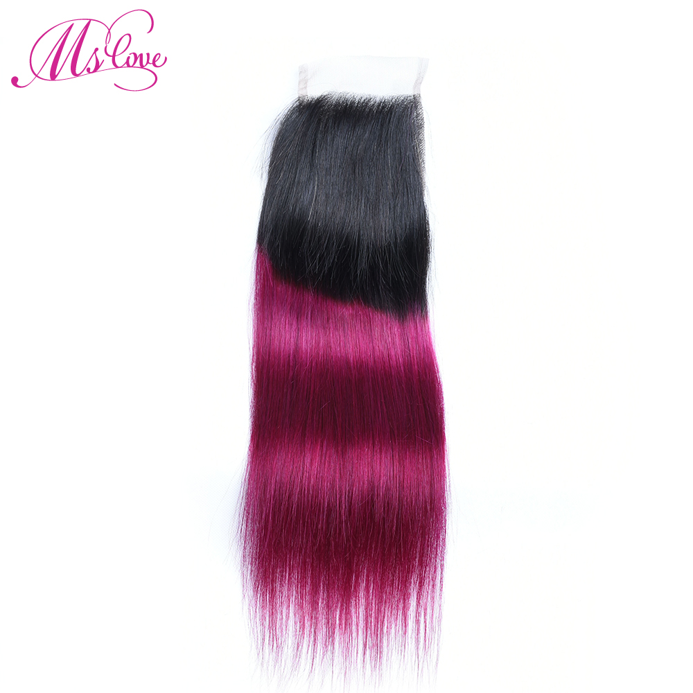 Ms Love Colroed T1B 118 Burgundy Ombre Straight Human Hair Lace Closure 4*4 Free Part Brazilian Hair Lace Closure Free Shipping