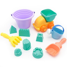 11PCS/set  soft rubber beach toy small truck spoon shower bucket digging sand cassia play shovel gifts (color random)