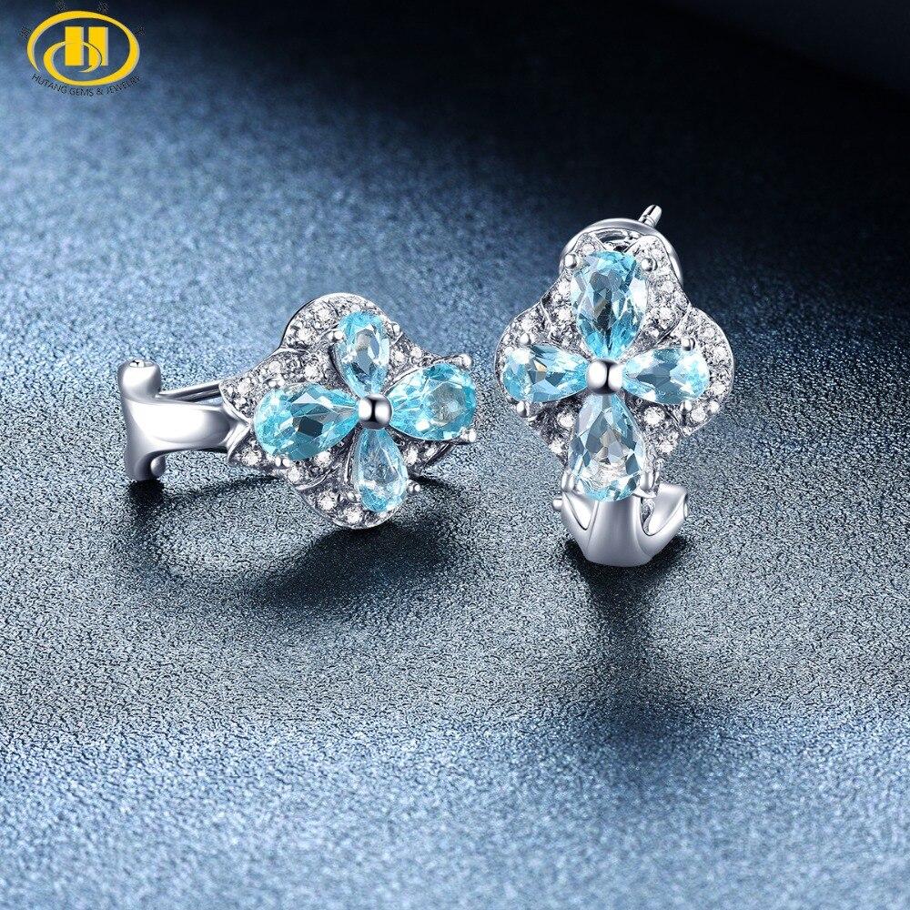 Hutang bleu topaze Clip boucles d'oreilles pierre naturelle solide 925 en argent Sterling Fine mode pierre bijoux pour noël meilleur cadeau