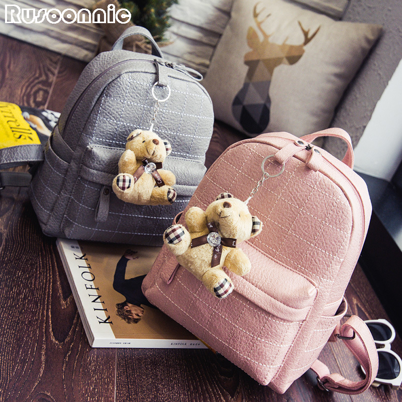 Rusoonnic Backpack Women Leather Backpacks Pu Bagpack School Bags For Girls 2017 Mochila Feminina escolar sac a dos back pack vintage tassel women backpack nubuck pu leather backpacks for teenage girls female school shoulder bags bagpack mochila escolar