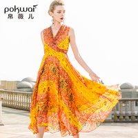 POKWAI Casual Floral Women Summer A Line Silk Dress 2018 New Fashion High Quality Sleeveless Sexy V Neck Empire Tank Dresses