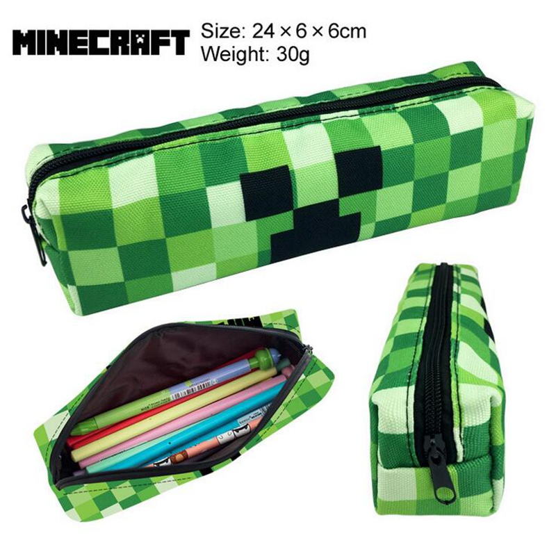 Big Pencil Case for Boys Girls School Cute Canvas Pencil Bag Minecraft Pen Box School Supplies Bts Stationery Student big capacity high quality canvas shark double layers pen pencil holder makeup case bag for school student with combination coded lock