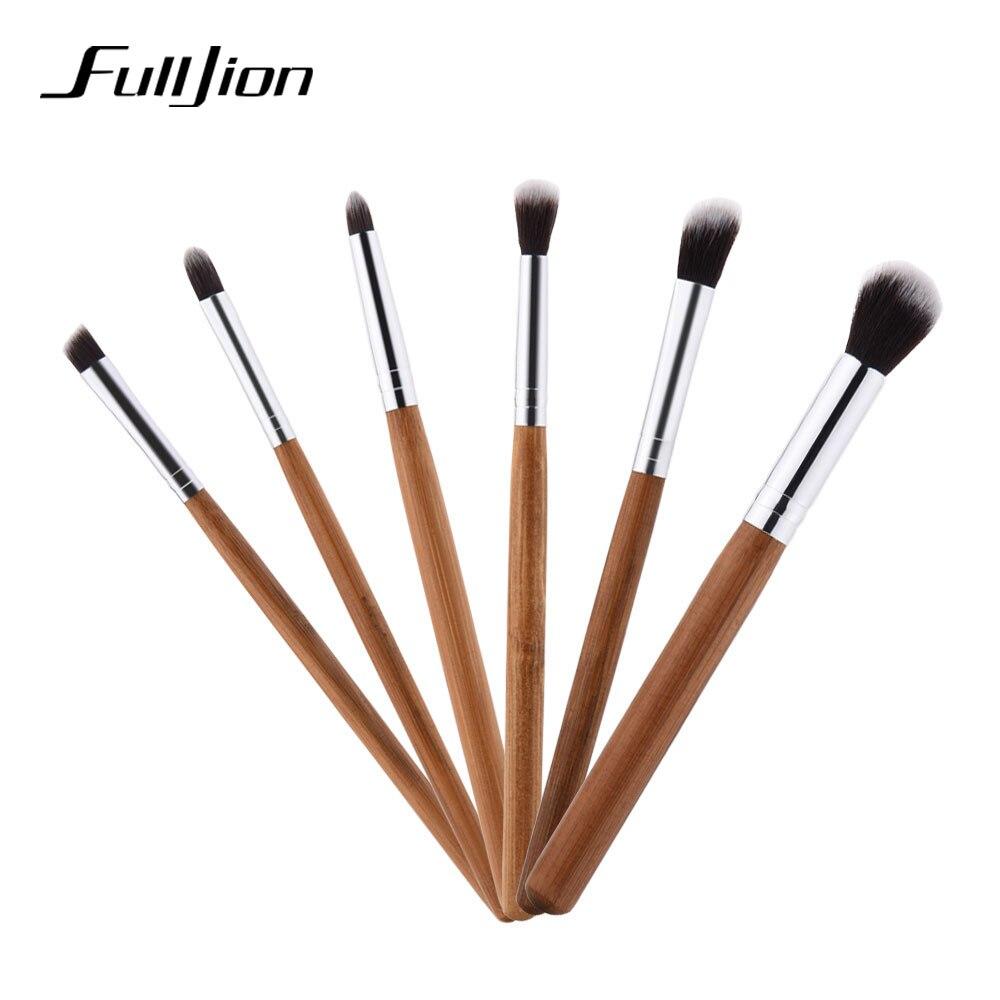 Fulljion New Makeup Brushes Professional Make Up Brushes Bamboo Wood Fiber Brush Set Makeup Tool Eyebrow Eyeliner Powder Brushes
