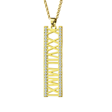 Wholesale Roman Numeral Jewelry Gold Color Roman Numeral Necklace Vertical Birthstone Anniversary Date Necklace Wedding Gift